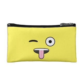Tongue out Emoji Cosmetic Bags