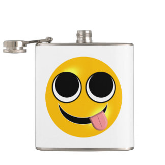 Tongue Out Emoji Hip Flask