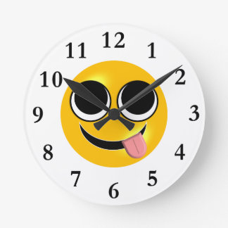 Tongue Out Emoji Round Clock