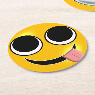 Tongue Out Emoji Round Paper Coaster