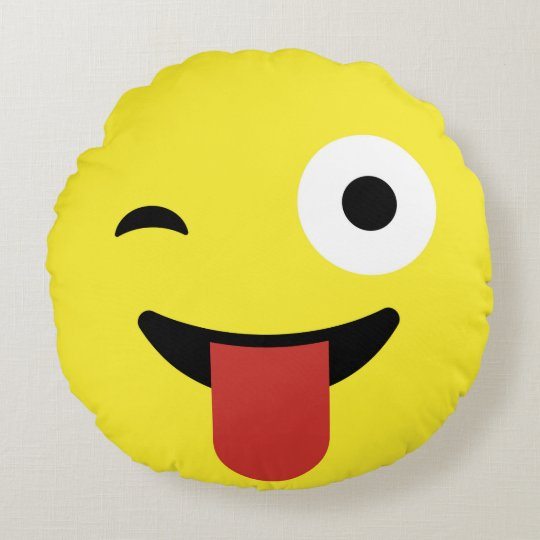 Tongue Out Emoji / Smiley Round Pillow