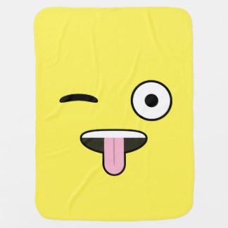 Tongue out Emoji Swaddle Blanket