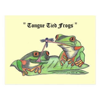 """ Tongue Tied Frogs "" Postcard"