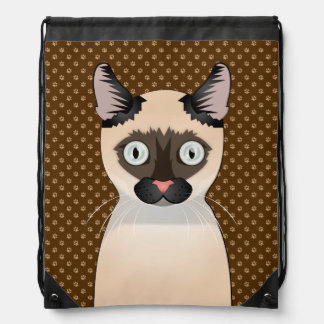 Tonkinese Cat Cartoon Paws Drawstring Bag