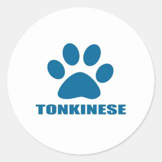 TONKINESE CAT DESIGNS CLASSIC ROUND STICKER