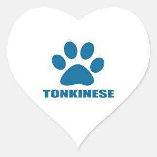 TONKINESE CAT DESIGNS HEART STICKER