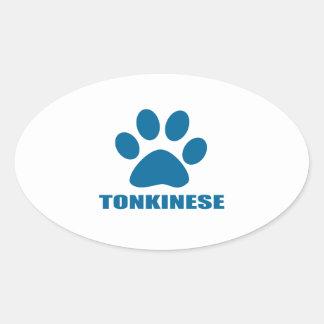 TONKINESE CAT DESIGNS OVAL STICKER
