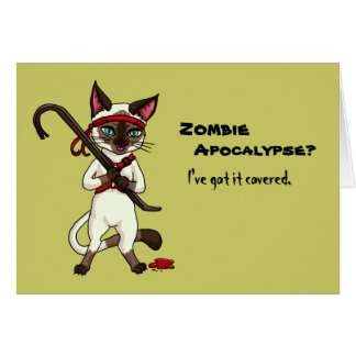 Tonkinese cat with crowbar zombie slayer halloween card