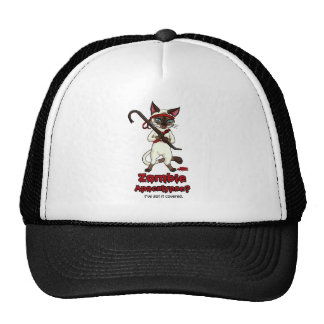Tonkinese cat with crowbar zombie slayer trucker hat