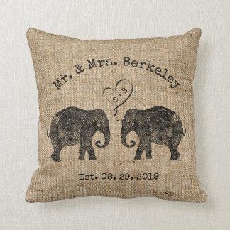 TONS OF LOVE | Elephant Couple Custom Wedding Gift Throw Pillow