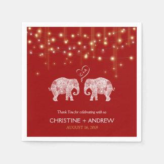 TONS OF LOVE / Elephant String Lights Custom Paper Napkins