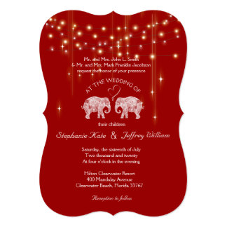 TONS OF LOVE/Elephant String Lights Wedding Invite