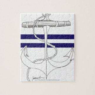 Tony Fernandes 2 blue stripe anchor Jigsaw Puzzle