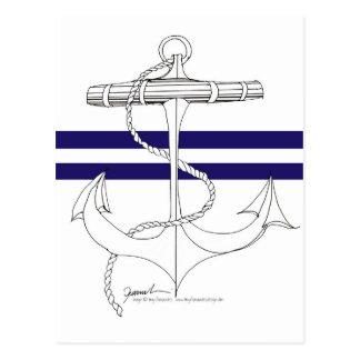 Tony Fernandes 2 blue stripe anchor Postcard