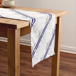 Tony Fernandes 2 blue stripe anchor Short Table Runner