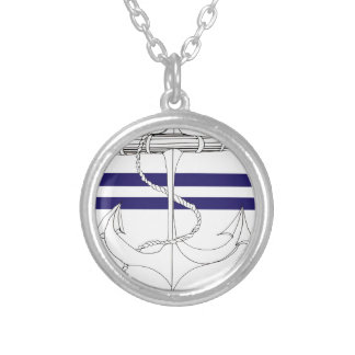 Tony Fernandes 2 blue stripe anchor Silver Plated Necklace