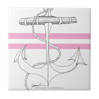 Tony Fernandes 2 pink stripe anchor Ceramic Tile