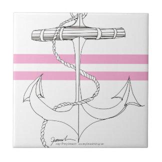 Tony Fernandes 2 pink stripe anchor Tile