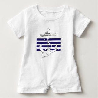 Tony Fernandes 4 blue stripe anchor Baby Romper