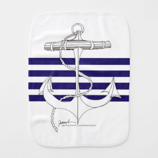 Tony Fernandes 4 blue stripe anchor Burp Cloth