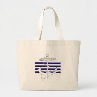 Tony Fernandes 4 blue stripe anchor Large Tote Bag