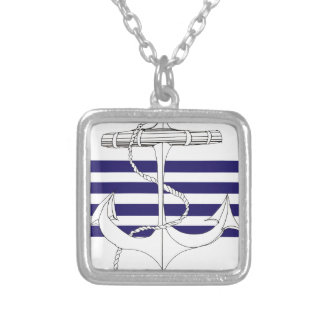 Tony Fernandes 4 blue stripe anchor Silver Plated Necklace