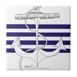 Tony Fernandes 4 blue stripe anchor Tile