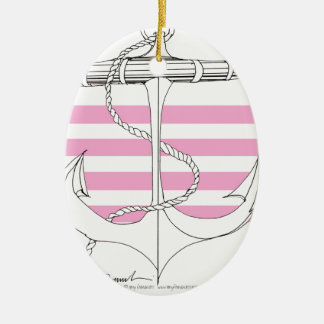 Tony Fernandes 4 pink stripe anchor Ceramic Ornament