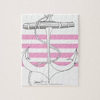 Tony Fernandes 4 pink stripe anchor Jigsaw Puzzle