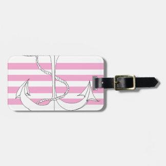 Tony Fernandes 4 pink stripe anchor Luggage Tag