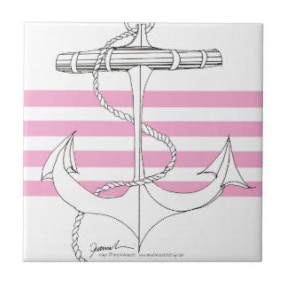 Tony Fernandes 4 pink stripe anchor Tile