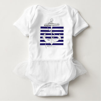 Tony Fernandes 6 blue stripe anchor Baby Bodysuit