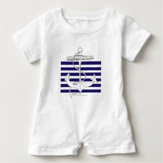 Tony Fernandes 6 blue stripe anchor Baby Romper