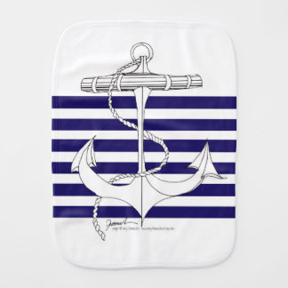 Tony Fernandes 6 blue stripe anchor Burp Cloth