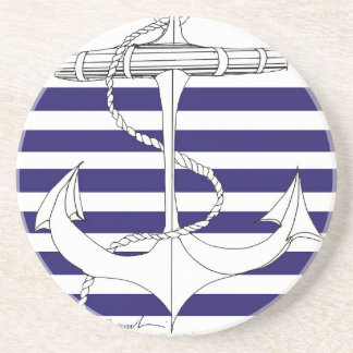 Tony Fernandes 6 blue stripe anchor Coaster
