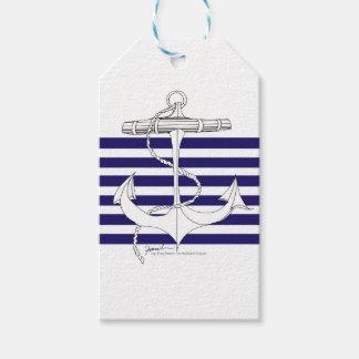 Tony Fernandes 6 blue stripe anchor Gift Tags