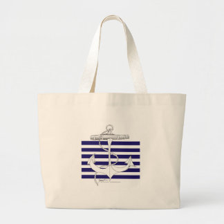 Tony Fernandes 6 blue stripe anchor Large Tote Bag