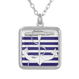 Tony Fernandes 6 blue stripe anchor Silver Plated Necklace