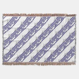 Tony Fernandes 6 blue stripe anchor Throw Blanket
