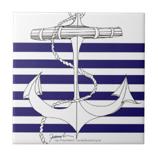 Tony Fernandes 6 blue stripe anchor Tile