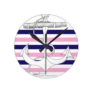 Tony Fernandes 6 mix stripe anchor Round Clock