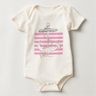Tony Fernandes 6 pink stripe anchor Baby Bodysuit