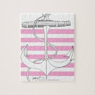 Tony Fernandes 6 pink stripe anchor Jigsaw Puzzle