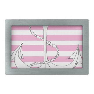 Tony Fernandes 6 pink stripe anchor Rectangular Belt Buckles