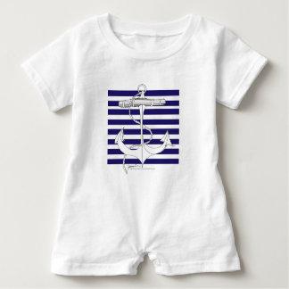 Tony Fernandes 8 blue stripe anchor Baby Romper