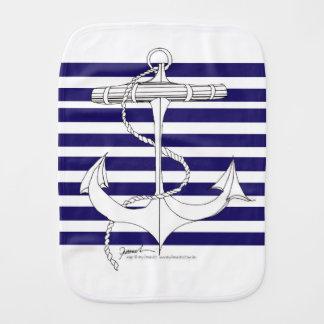 Tony Fernandes 8 blue stripe anchor Burp Cloth