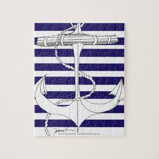 Tony Fernandes 8 blue stripe anchor Jigsaw Puzzle