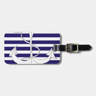 Tony Fernandes 8 blue stripe anchor Luggage Tag