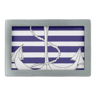 Tony Fernandes 8 blue stripe anchor Rectangular Belt Buckle