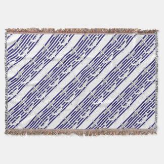 Tony Fernandes 8 blue stripe anchor Throw Blanket